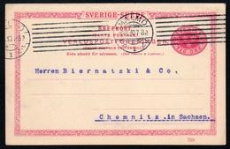 A3775 - Alte Ganzsache - Brefkort - Tri Öre - Malmö Nach Chemnitz 1910 - Schweden