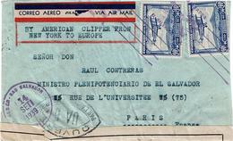 LCTN47/4- SALVADOR LETTRE AVION SEPTEMBRE 1939 CENSURE MILITAIRE EN FRANCE - El Salvador