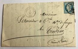 LETTRE ANCIENNE Pour LE CREUSOT Avec Timbre Napoléon III Oblitéré Timbre à Date Des Bureaux De Passe 1867 - Poststempel (Briefe)