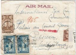 LCTN47/4- CANADA LETTRE AVION POUR CROIX ROUGE GENEVE JUILLET 1943 PAR LISBONNE CENSURE ALLEMANDE