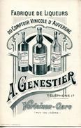 TARIF FABRIQUE DE LIQUEURS FINES & SURFINES,ABSINTHE,VINS DE LIQUEURS.A.GENESTIER VERTAIZON GARE(63) - Old Paper