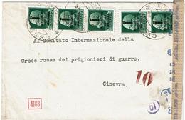 LCTN47/4- ITALIE RSI - IMPERIALE MULTIPLE SUR LETTRE POUR LA CROIX ROUGE GENEVE DEPART CESENA MAI 1944 CENSURE - 4. 1944-45 Repubblica Sociale