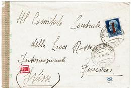 LCTN47/4- ITALIE RSI - IMPERIALE1L25 SUR LETTRE POUR LA CROIX ROUGE GENEVE DEPART CHIUSA JUIN 1944 CENSURE - Storia Postale