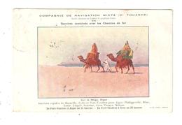 CPA  Publicitaire Compagnie De Navigation Mixte Touache Illustration Sur La Plage D'Alger Chameaux 1909 - Bateaux