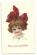 """Big Eyes. Petite Filles Et Grand Ruban Rouge. """"Deux Yeux Qui Brillent"""". Signée Fred (Fredt) Spurgin. 1922 - Spurgin, Fred"""