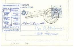 Belgique Carte-lettre 13 Francs Néerlandais - Français Oblitérée - Cartes-lettres