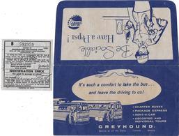 Ticket Transport Dans Pochette Cie SOUTHEASTERN GREYHOUND LINE LEXINGTON-NEW ORLEANS Nov 1958 (caniche Et Lévrier) PEPSI - Monde
