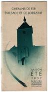 Chemins De Fer D'Alsace Et De Lorraine, Eté 1937 - Services Automobiles Touristiques Astra / Lung / CTA / Mathias Lux... - Europe
