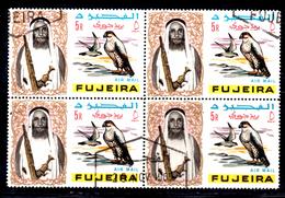 XP3021 - FUJEIRA 1964, Posta Aerea Yvert N. 9 Quartina Usata Ripiegata . Falco - Fujeira