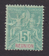 Reunion, Scott #37, Mint Hinged, Navigation And Commerce, Issued 1892 - Réunion (1852-1975)