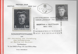 AUTRICHE  FDC    1965  Nobel De La Paix Lettre Suttner - Nobelprijs