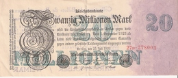 BILLET BANQUE BERLIN 1923 REICHSBANKNOTE 20 MILLIONS REUTILISE PUBLICITE COLLECTION - Advertising