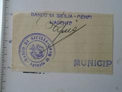 KA1009.11  Italia - Sicilia  - Banco Di Sicilia   Agenzia Menfi  Signature  1933 - Autographs