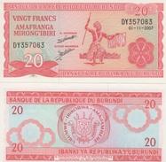 (B0186) BURUNDI, 2007. 20 Francs. P-27d. UNC - Burundi