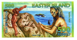 2011 Easter Island  Uncirculated 500 Rongo Banknote - Chile