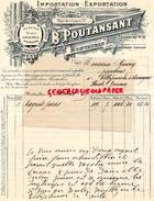 82 - MONTAUBAN- BELLE FACTURE B. POUTANSANT-IMPORTATION EXPORTATION FLEURS FRUITS-  M. GAVEN VILLEFRANCHE DE LAURAGAIS - France
