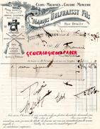 82 - CAYLUS - BELLE FACTURE MARIUS DELFRAISSY FILS- CUIRS -MACHINES A COUDRE MERCERIE-FUSILS- FUSIL- RUE DROITE -1917 - France
