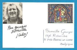 (A520) Signature / Dédicace / Autographe Original Julos Beaucarne - Artiste Musical Wallon - Autographes