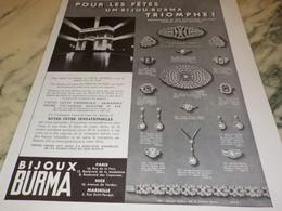 ANCIENNE PUBLICITE BIJOUX BURMA 1936 - Bijoux & Horlogerie
