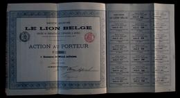 1872 RARE 4 ACTIONS Sur 1000 EMISSIONS * LE LION BELGE * SERVICE DE NAVIGATION DE L'INTERIEUR - Bateaux à Vapeur ANVERS - Transports