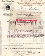 13 - MARSEILLE - FACTURE EDMOND BALME- FRUITS ET LEGUMES SECS- 43 BD LIBERTE- 1907 LA RUCHE MIEL ABEILLES ABEILLE - France