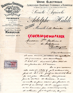 13 - MARSEILLE - FACTURE ADOLPHE HALDI- USINE ELECTRIQUE FARINE DE COCOTIER-GUSTAVE LOSSON -A. POUYAGUT- STE AGRICOLE- 1 - France