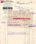 13 - MARSEILLE - FACTURE MANTE & CIE- FABRIQUE PRODUITS CHIMIQUES- ACIDES TARTRIQUE ET CITRIQUE-POTASSE-1919 - France