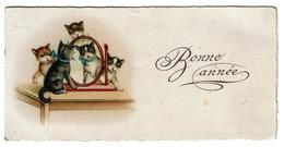 1931 Chats Bonne Année Mignonette Mini Carte Fantaisie Chatons - 2 Scans - Gatti