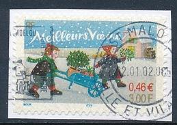 France - Meilleurs Vœux (adhésif) YT A 32 Obl. (3440) Cachet Rond Sur Frgment - Adhésifs (autocollants)