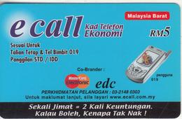 MALAYSIA - E Call Prepaid Card RM 5, Used - Malaysia