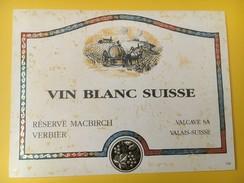 4159 -  Vin Blanc Suisse Réserve MACBIRCH Verbier - Etiquettes
