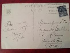 Timbre, Flamme Et Cpa Tous 3 Sur Exposition Coloniale Internationale 1931 - Poststempel (Briefe)