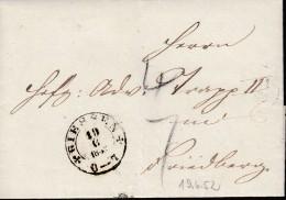 K2: Giessen 19.6.1852  Auf Faltbrief Nach Friedberg, Mit Ausgabestempel