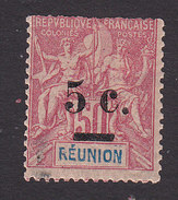 Reunion, Scott #57, Mint Hinged, Navigation And Commerce Surcharged, Issued 1901 - Réunion (1852-1975)