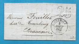 Gard - Roquemaure Pour Beaucaire. CàD Type 13 + Taxe Tampon 25. 1853 - Marcophilie (Lettres)