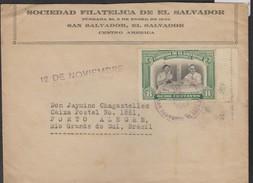 O) 1945 EL SALVADOR, PRESIDENT ROOSVELT - 8 CENTAVOS GREEN, EMPLOYEE'S DAY POSTCARD, COVER TO BRAZIL XF - El Salvador
