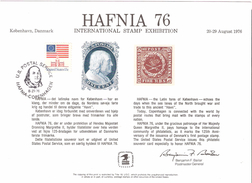 Denmark USA 1976 Souvenir Bloc For Hafnia 76, Cancelled  27.8.1976