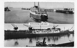 BOULOGNE SUR MER - N° 2 - BATEAU SORTANT DU PORT ET LE MAID OF ORLEANS A QUAI - FORMAT CPA  VOYAGEE - Boulogne Sur Mer