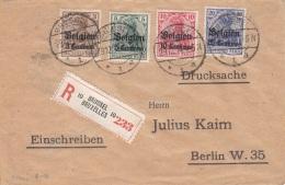 R-Brief DEUTSCHES REICH Mit Überdruck BELGIEN 1914 - 4 Fach Frankierung Auf Einschreiben Firmenbrief Von Brüssel ... - Belgien