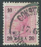 1900 AUSTRIA LEVANTE USATO EFFIGIE 20 PA SU 10 H - M56-6 - Oriente Austriaco