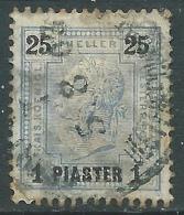 1901 AUSTRIA LEVANTE USATO EFFIGIE 1 PI SU 25 H - M56-6 - Oriente Austriaco