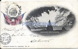 72137 US WASHINGTON FROM ARLINGTON & HERALDRY CIRCULATED TO ARGENTINA POSTAL POSTCARD - Estados Unidos