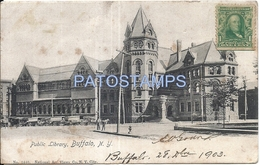 72138 US BUFFALO NEW YORK PUBLIC LIBRARY SPOTTED CIRCULATED TO ARGENTINA POSTAL POSTCARD - Vereinigte Staaten