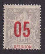 Reunion, Scott #100, Mint Hinged,Navigation And Commerce Surcharged, Issued 1912 - Reunion Island (1852-1975)
