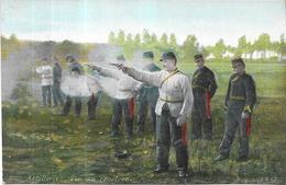 LOT De 5 CPA COLORISEES - ARTILLERIE - Tir Révolveur Attelage A Vos Postes  Pansage Trompettes - ORL - - Regiments