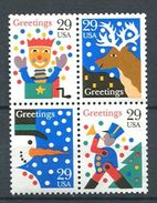 198 ETATS UNIS (USA) 1993 - Yvert 2194/97 - Bonhomme Neige Renne Soldat Diable - Neuf ** (MNH) Sans Trace De Charniere - Unused Stamps