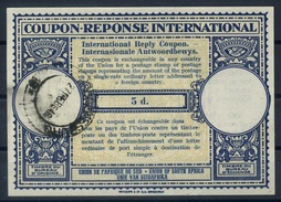 SOUTH AFRICA, London Type XIIp 5d. International Reply Coupon Reponse Antwortschein IRC IAS O JOHANNESBURG 1946 - Briefe U. Dokumente