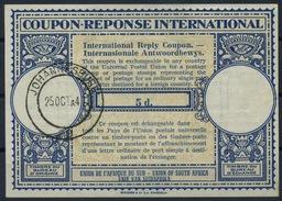 SOUTH AFRICA London Type XIV 5d. International Reply Coupon Reponse IAS IRC Antwortschein O JOHANNESBURG 25.10.47 - Briefe U. Dokumente