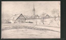 Künstler-AK Selzach, Ortsansicht Mit Kirche - SO Solothurn