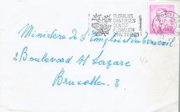 Flamme Floralies Gantoises - Gentse Floraliën Sur Timbre Baudouin Lunettes 3 F (19/1/1965) - Postmark Collection